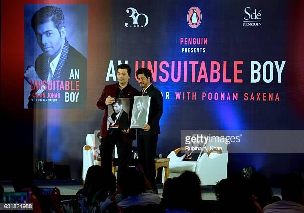 Shah Rukh Khan launches Karan Johar's new book 'An Unsuitable Boy' at Taj Land's End on January 16 2017 in Mumbai India