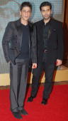 Shah Rukh Khan with Karan Johar at Big Pictures' success bash held in Mumbai on February 28 2010