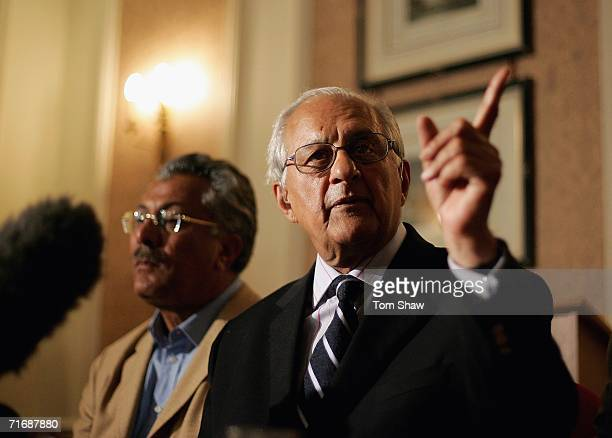 Shaharyar Khan the Chairman of the PCB talks to the press after the abandoned npower Test Match between England and Pakistan at the Marriott Hotel on...