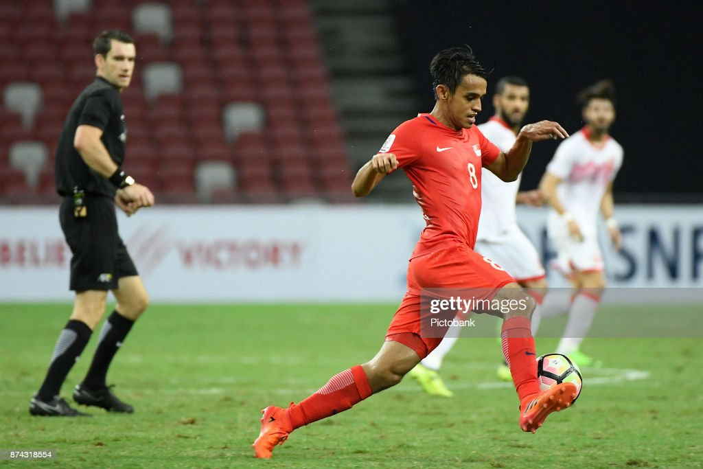 Shahdan Sulaiman of Singapore in action during the Asian Cup Qualifier match between Singapore and Bahrain at the Singapore Sports Hub on November 14, 2017, in Singapore, Singapore.