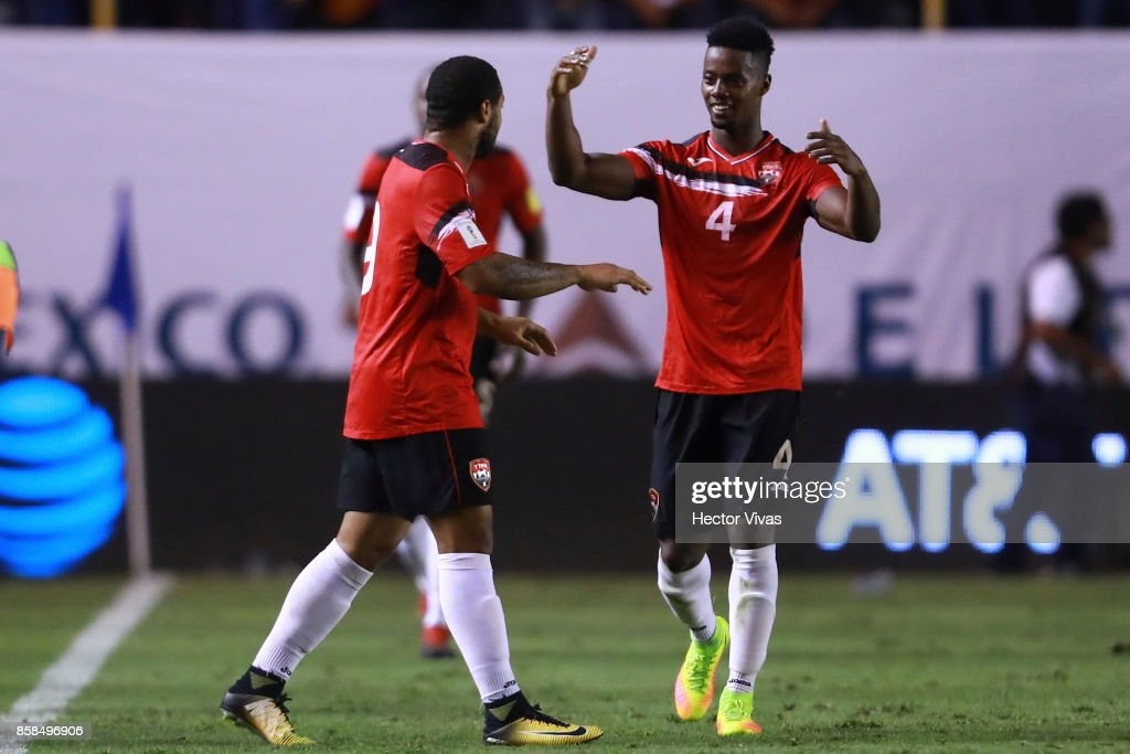 Shahdon Winchester of Trinidad & Tobago celebrates with teammates after scoring the first goal of his team during the match between Mexico and Trinidad & Tobago as part of the FIFA 2018 World Cup Qualifiers at Alfonso Lastras Stadium on October 6, 2017 in San Luis Potosi, Mexico.