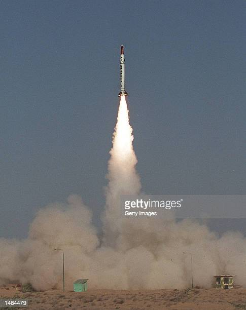 Shaheen 1 the first in a new series of surfacetosurface missiles is launched October 8 2002 at an undisclosed location near Karachi Pakistan With...