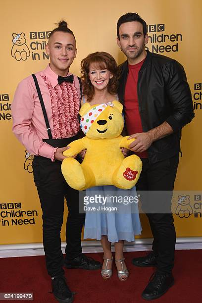 Shaheen Jafargholi Bonnie Langford and Davood Ghadami show support for BBC Children in Need at Elstree Studios on November 18 2016 in Borehamwood...