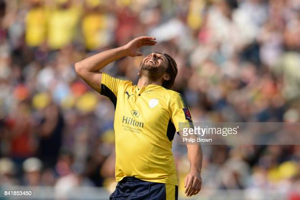 Shahid Afridi of Hampshire celebrates after the dismissal of Brendan Taylor of Nottinghamshire during the Natwest T20 Blast semifinal match between...