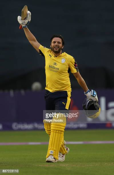 Shahid Afridi of Hampshire celebrates his century during the NatWest T20 Blast at The 3aaa County Ground on August 22 2017 in Derby England