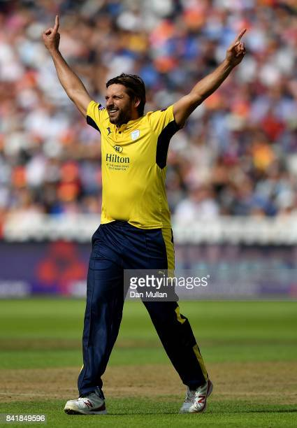 Shahid Afridi of Hampshire celebrates taking the wicket of Brendan Taylor of Notts Outlaws during the NatWest T20 Blast SemiFinal match between...