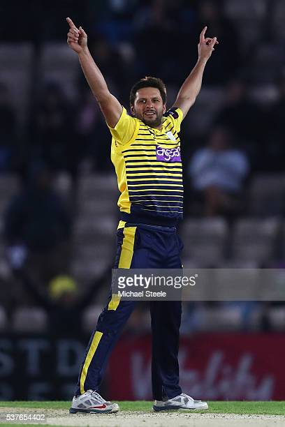 Shahid Afridi of Hampshire celebrates taking the wicket of Sam Northeast of Kent during the NatWest T20 Blast match between Hampshire and Kent the...