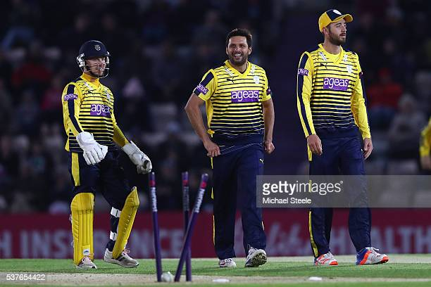Shahid Afridi of Hampshire celebrates taking the wicket of Sam Northeast of Kent alongside James Vince and Adam Wheater during the NatWest T20 Blast...