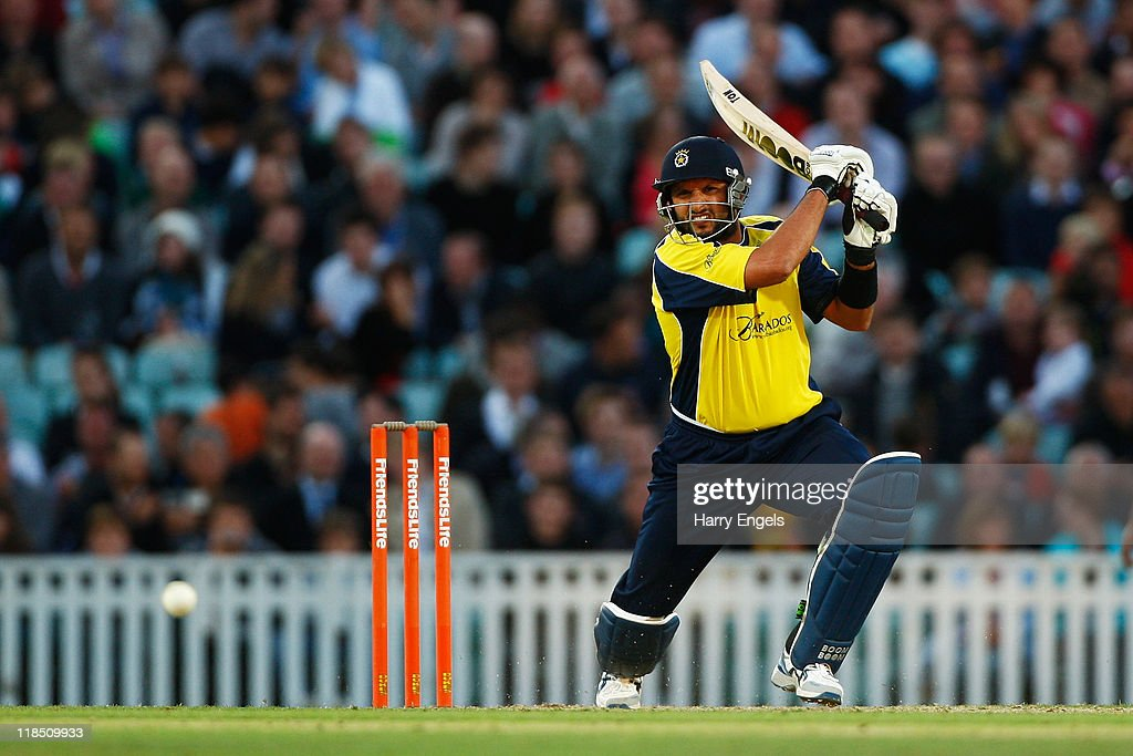 Shahid Afridi of Hampshire hits out during the Friends Life T20 match between Surrey and Hampshire at The Kia Oval on July 8 2011 in London England