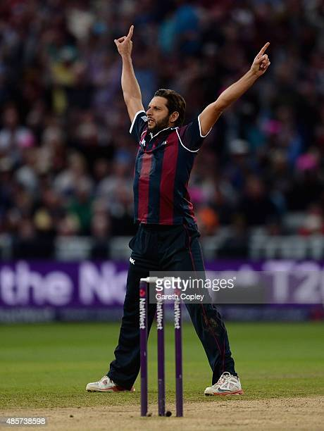 Shahid Afridi of Northamptonshire celebrates dismissing Liam Livingstone of Lancashire during the NatWest T20 Blast Final between Lancashire Lighting...