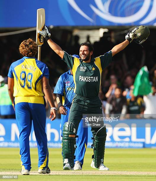 Shahid Afridi of Pakistan celebrates victory during the ICC World Twenty20 Final between Pakistan and Sri Lanka at Lord's on June 21 2009 in London...