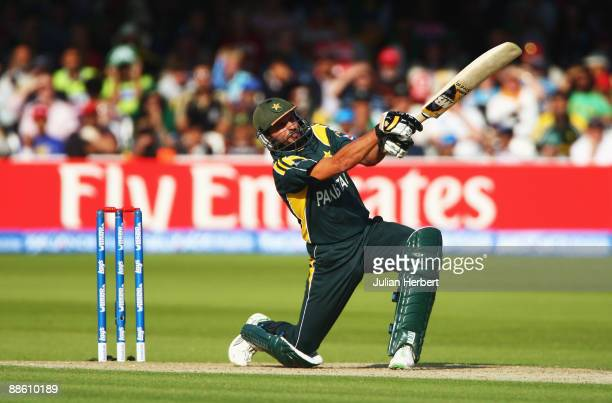 Shahid Afridi of Pakistan hits out during the ICC World Twenty20 Final between Pakistan and Sri Lanka at Lord's on June 21 2009 in London England
