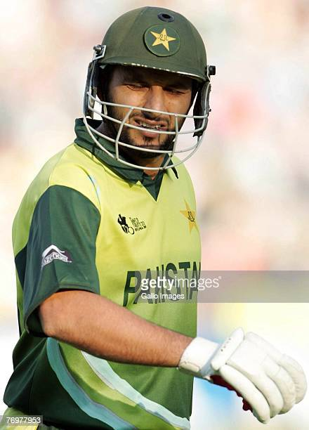 Shahid Afridi of Pakistan looks dejected during the Twenty20 Championship Final match between Pakistan and India at The Wanderers Stadium on...