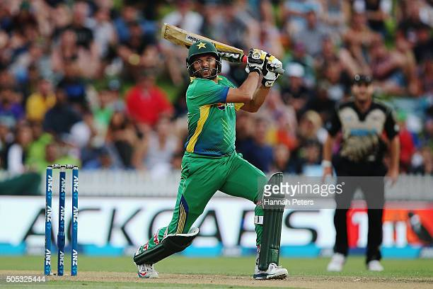 Shahid Afridi of Pakistan plays the ball away for four runs during the International Twenty20 match between New Zealand and Pakistan at Seddon Park...
