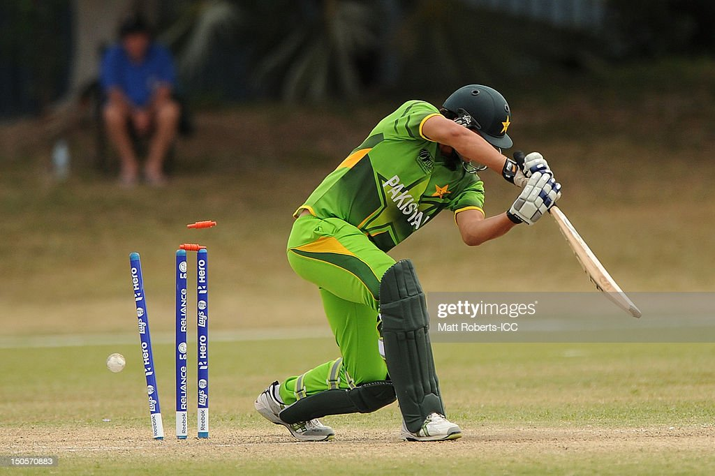 Shahid Ilyas of Pakistan is bowled during the ICC U19 Cricket World Cup 2012 Semi Final match between Pakistan and the West Indies at Endeavour Park on August 22, 2012 in Townsville, Australia.
