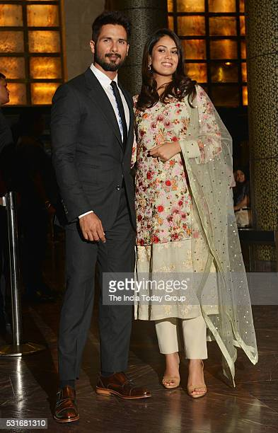 Shahid Kapoor with his wife Mira Rajput at Preity Zinta and Gene Goodenoughs wedding reception ceremony at St Regis Hotel in Mumbai