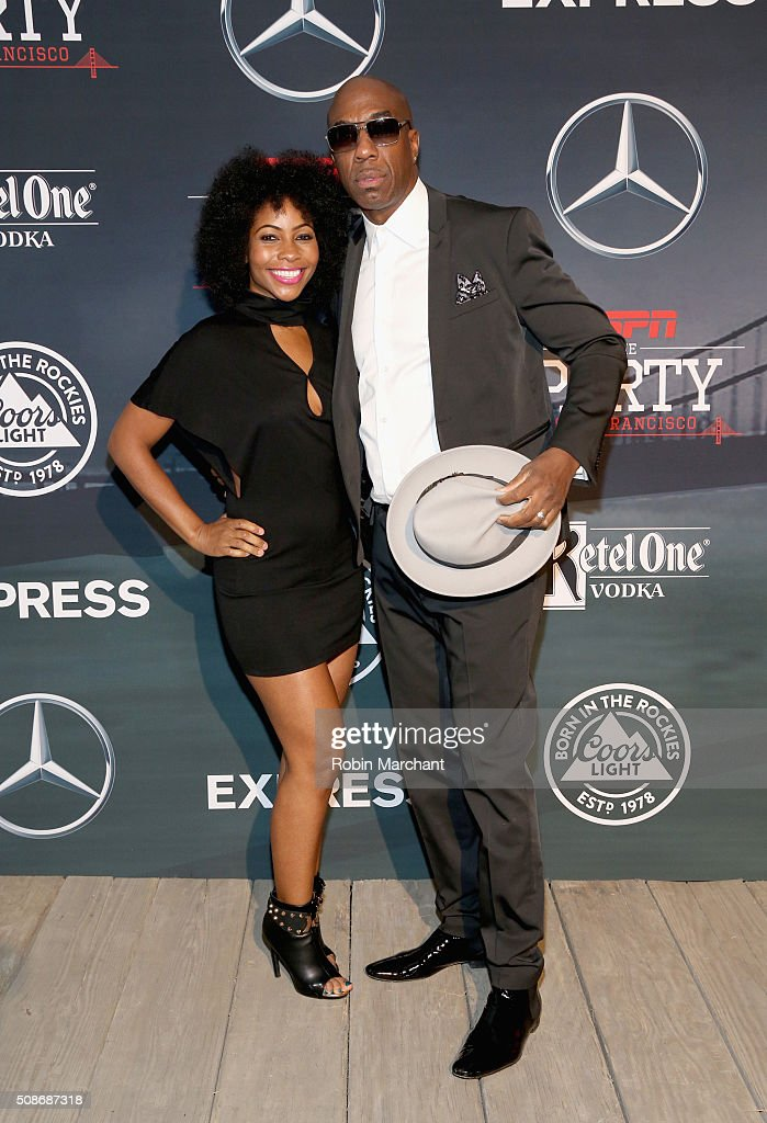 Shahidah Omar (L) and actor/comedian J. B. Smoove attend ESPN The Party on February 5, 2016 in San Francisco, California.