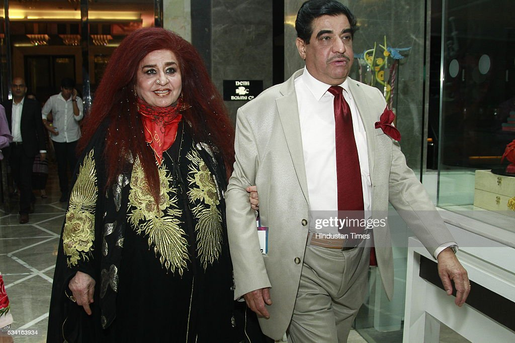 Shahnaz Hussain arrives with her husband Raj Kumar Puri arriving at red carpet for Hindustan Times Most Stylish Awards 2016 at hotel JW Marriot, Aerocity on May 24, 2016 in New Delhi, India.