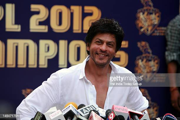 Shahrukh Khan addressed a press conference at his Mannat residence in Mumbai on Wednesday May 30 2012 on the Kolkata Knight Riders winning the fifth...