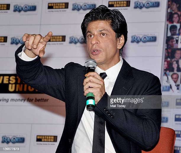 Shahrukh Khan during the launch of Western Union's campaign in association with movie 'RaOne' at Grand Hyatt Mumbai on September 23 2011
