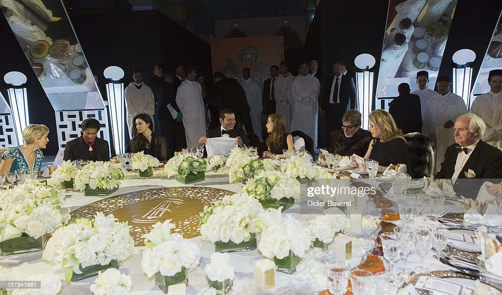 Shahrukh Khan, Monica Bellucci, Prince Moulay Rachid of Morocco, Isabelle Huppert, Amitabh Bachchan and Catherine Deneuve attend the Gala Dinner at the Tribute to Hindi Cinema ceremony at the 12th Marrakech international Film Festival on November 30, 2012 in Marrakech, Morocco.