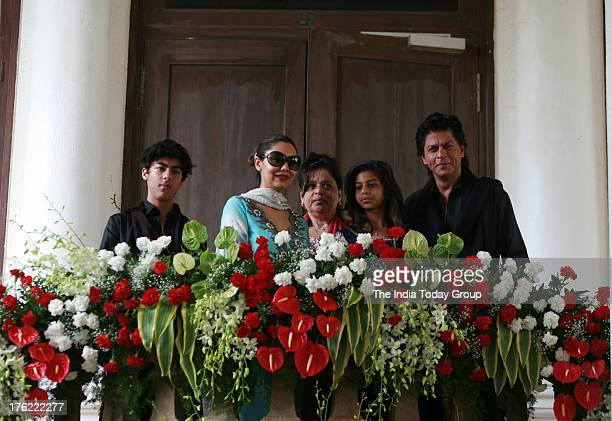 Shahrukh Khan with his wife Gauri Khan Son Aryan daughter Suhana and sister Shehnaz during the Eid lunch hosted at his lavish mansion in Bandra