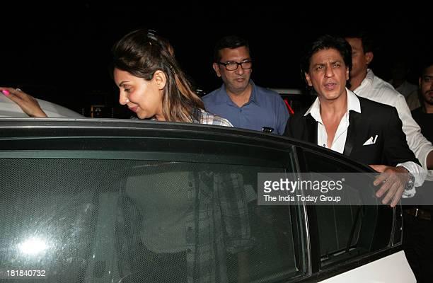Shahrukh Khan with wife Gauri Khan during Chunky Pandeys birthday bash in Mumbai