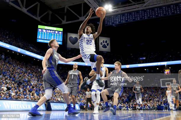 Shai GilgeousAlexander of the Kentucky Wildcats shoots the ball in the game against the IPFW Mastodons at Rupp Arena on November 22 2017 in Lexington...