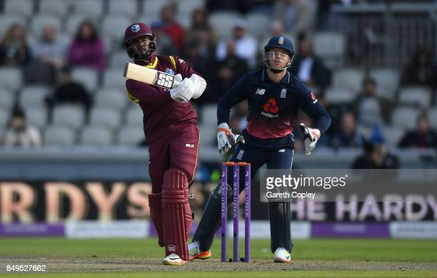 Shai Hope of the West Indies bats during the 1st Royal London One Day International match between England and the West Indies at Old Trafford on...