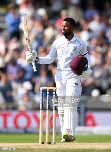 Shai Hope of the West Indies celebrates reaching his century during day two of the 2nd Investec Test between England and the West Indies at...