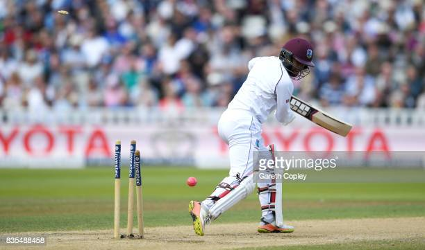 Shai Hope of the West Indies is bowled by Toby RolandJones of England during day three of the 1st Investec Test between England and the West Indies...