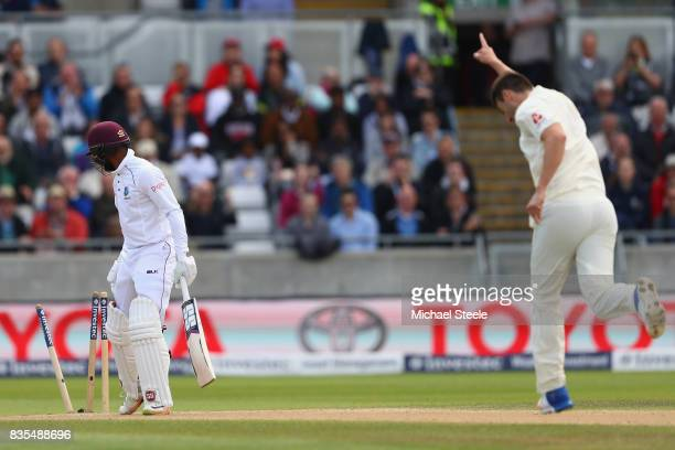 Shai Hope of West Indies is bowled by Toby RolandJones of England during day three of the 1st Investec Test match between England and West Indies at...