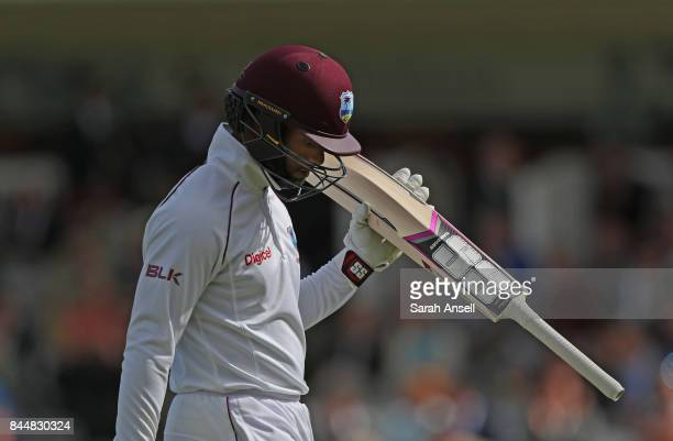 Shai Hope of West Indies leaves the field after being dismissed for 62 during day three of the 3rd Investec Test match between England and West...