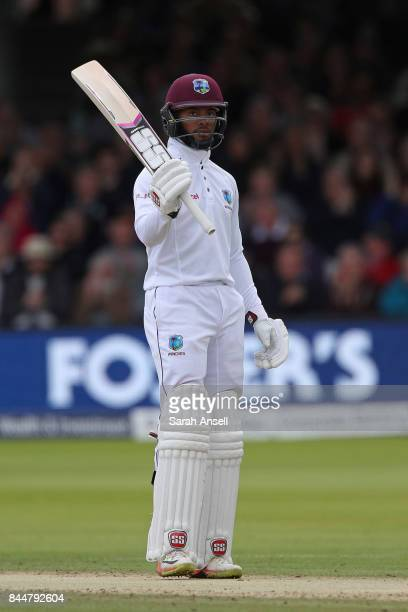 Shai Hope of West Indies raises his bat after reaching a half century during day three of the 3rd Investec Test match between England and West Indies...