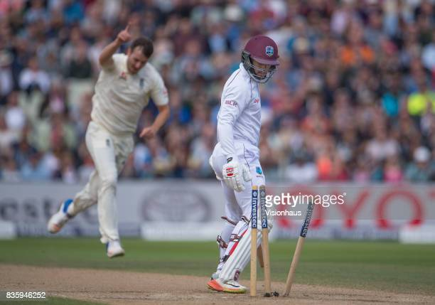 Shai Hope of West Indis is bowled by Toby RolandJones of England during day three of the 1st Investec test match between England and West Indies at...