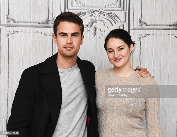 Shailene Woodley and Theo James attend AOL Build Speaker Series 'Allegiant' at AOL Studios In New York on March 14 2016 in New York City