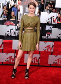 Shailene Woodley arrives at the 2014 MTV Movie Awards at Nokia Theatre LA Live on April 13 2014 in Los Angeles California