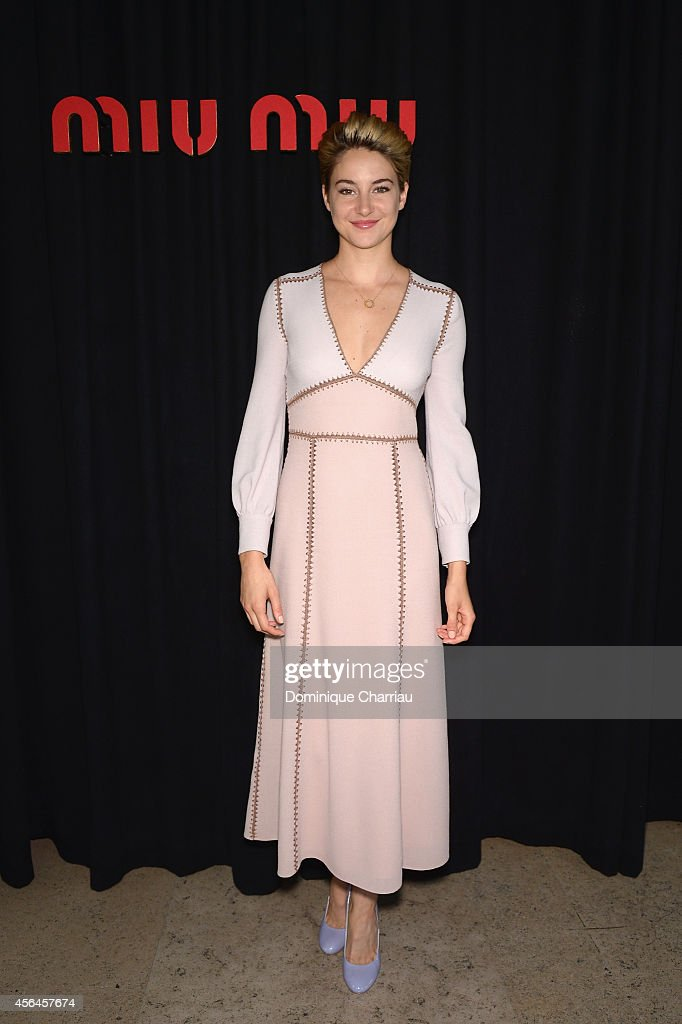 Shailene Woodley attends the Miu Miu show as part of the Paris Fashion Week Womenswear Spring/Summer 2015 on October 1 2014 in Paris France