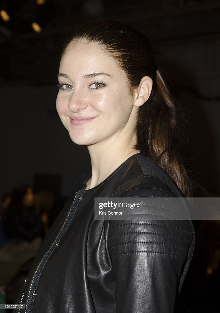 <a gi-track='captionPersonalityLinkClicked' href=/galleries/search?phrase=Shailene+Woodley&family=editorial&specificpeople=676833 ng-click='$event.stopPropagation()'>Shailene Woodley</a> poses for a photo during the Rebecca Taylor Fall 2013 show during Mercedes-Benz Fashion Week at Highline Stages on February 9, 2013 in New York City.