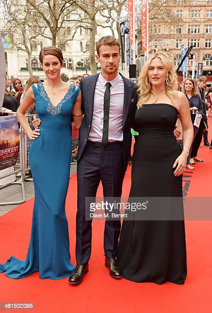 Shailene Woodley Theo James and Kate Winslet attend the European Premiere of 'Divergent' at Odeon Leicester Square on March 30 2014 in London England