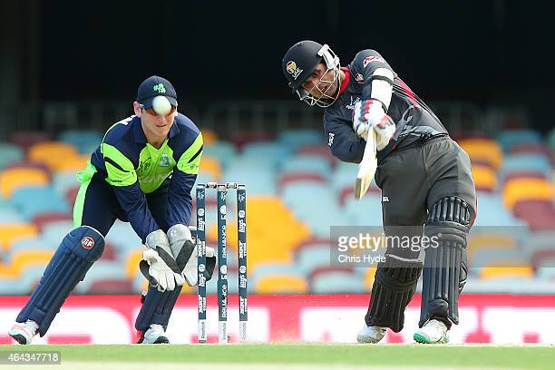 Shaiman Anwar of the United Arab Emirates bats during the 2015 ICC Cricket World Cup match between Ireland and the United Arab Emirates at The Gabba...