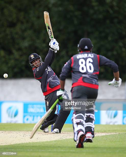 Shaiman Anwar of UAE bats during the ICC World Twenty20 India Qualifier between UAE and Afghanistan at the Grange Cricket Club on July 10 2015 in...