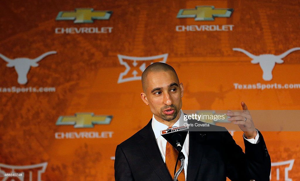 <a gi-track='captionPersonalityLinkClicked' href=/galleries/search?phrase=Shaka+Smart&family=editorial&specificpeople=6845771 ng-click='$event.stopPropagation()'>Shaka Smart</a> addresses the media after being introduced as the new head coach of the Texas Longhorns men's basketball team at the Frank Erwin Center on April 3, 2015 in Austin, Texas.