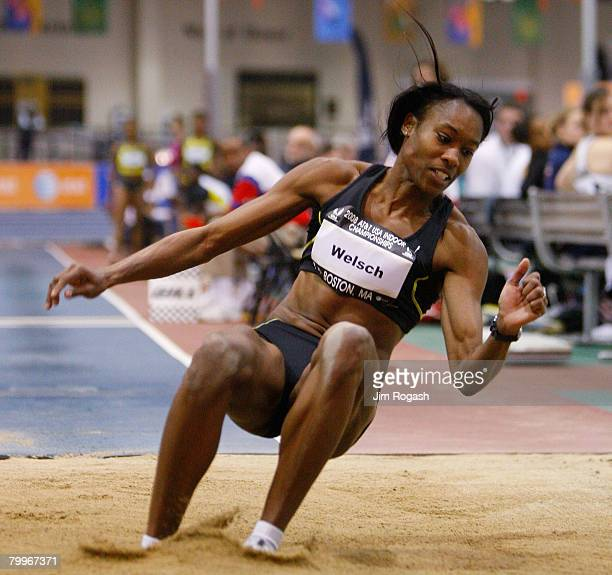 Shakeema Welsch wins the Women's Triple Jump at the ATT USA Indoor Track Field Championships at the Reggie Lewis Track Athletic Center on February 24...