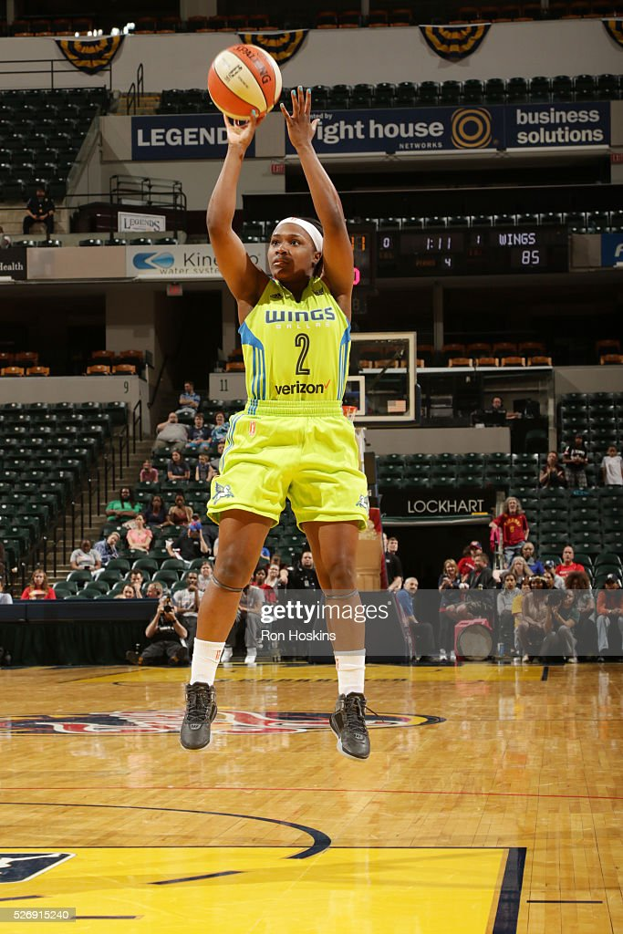 Shakena Richardson #2 of Dallas Wings shoots the ball against the Indiana Fever during a preseason game on May 1, 2016 at Bankers Life Fieldhouse in Indianapolis, Indiana.