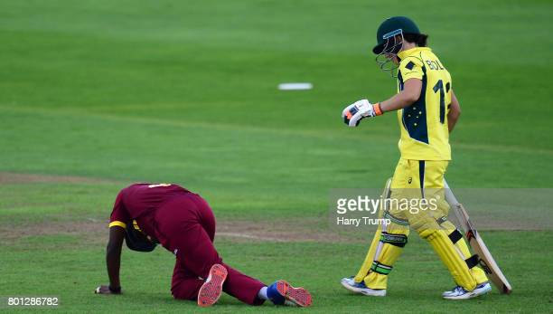 Shakera Selman of West Indies lies on the floor after being hit by a shot from Nicole Bolton of Australia during the ICC Women's World Cup 2017 match...