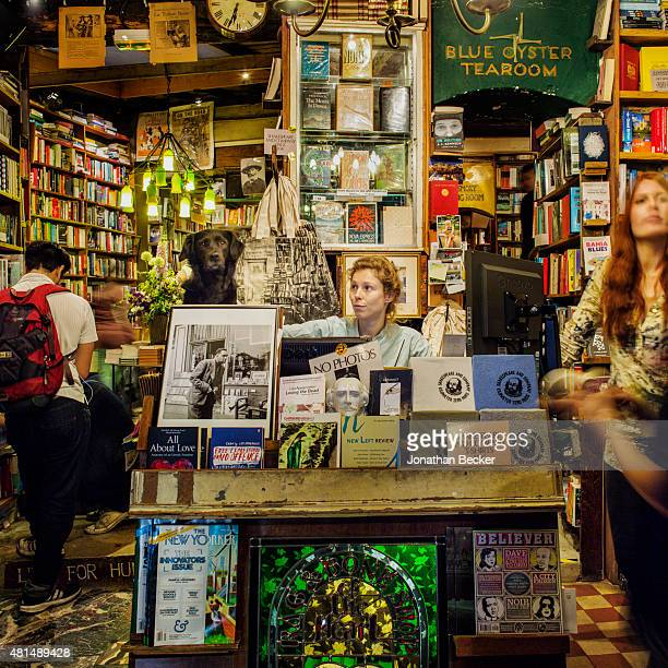 Shakespeare Company Bookstore is photographed for Vanity Fair Magazine on May 20 2014 in Paris France The store's dog Colette at cash register with...