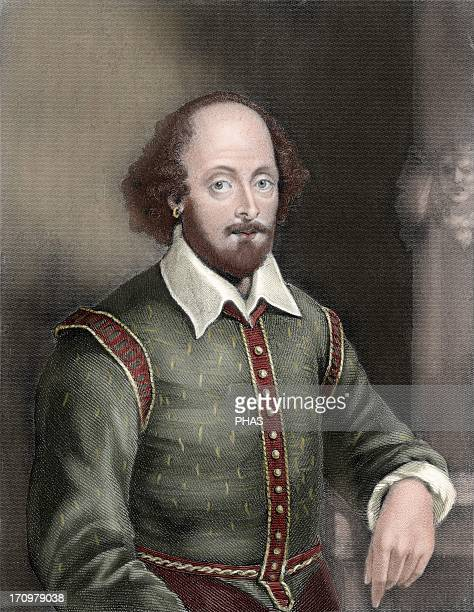 Shakespeare William English writer Engraving by William Holl Colored