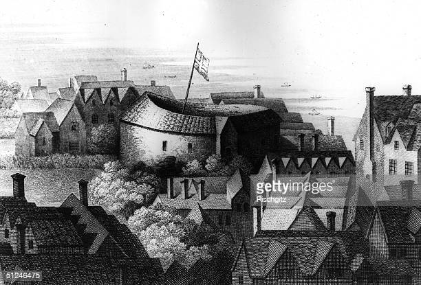 1647 Shakespeare's Globe theatre at Bankside London on the South bank of the River Thames Original Artwork Engraving by Hollar
