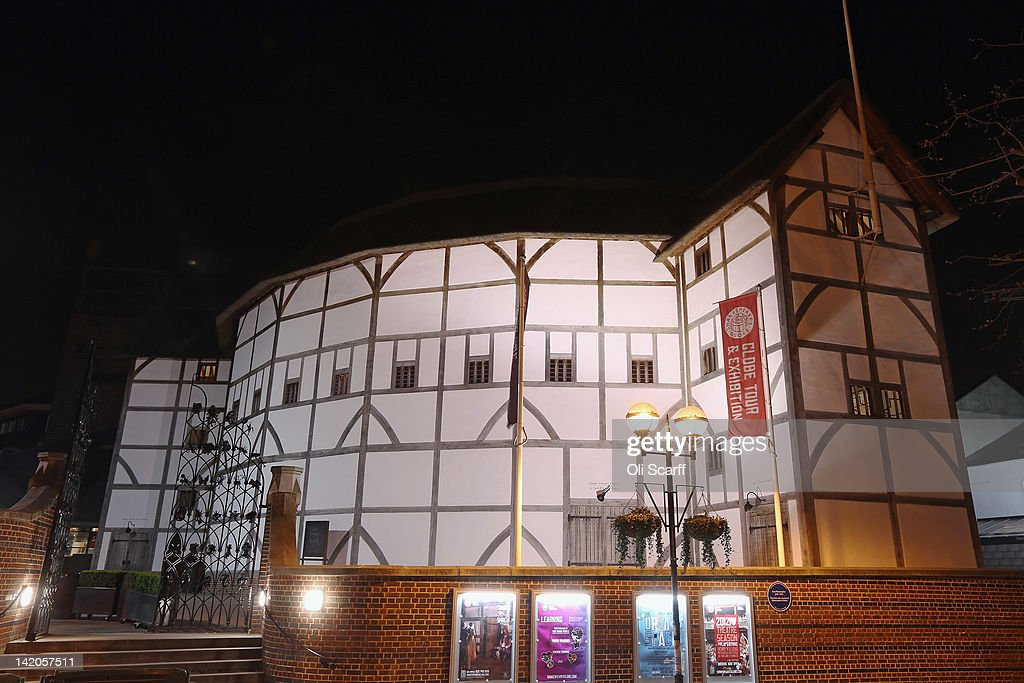 Shakespeare's Globe theatre on the South Bank of the river Thames is illuminated at night on March 28, 2012 in London, England.